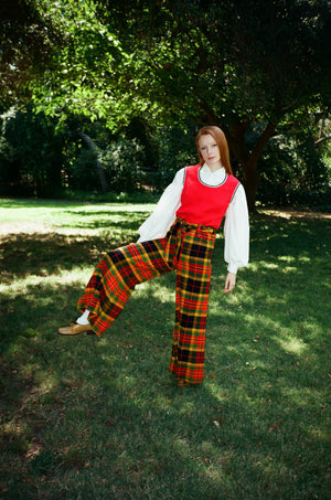 vintage 1970s high waisted wide leg elephant flared pants trousers tartan autumn fall