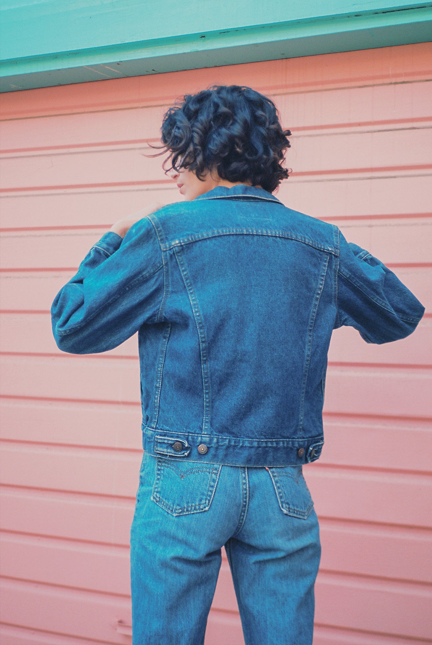 Vintage 80s levis dark denim cropped jacket made in usa