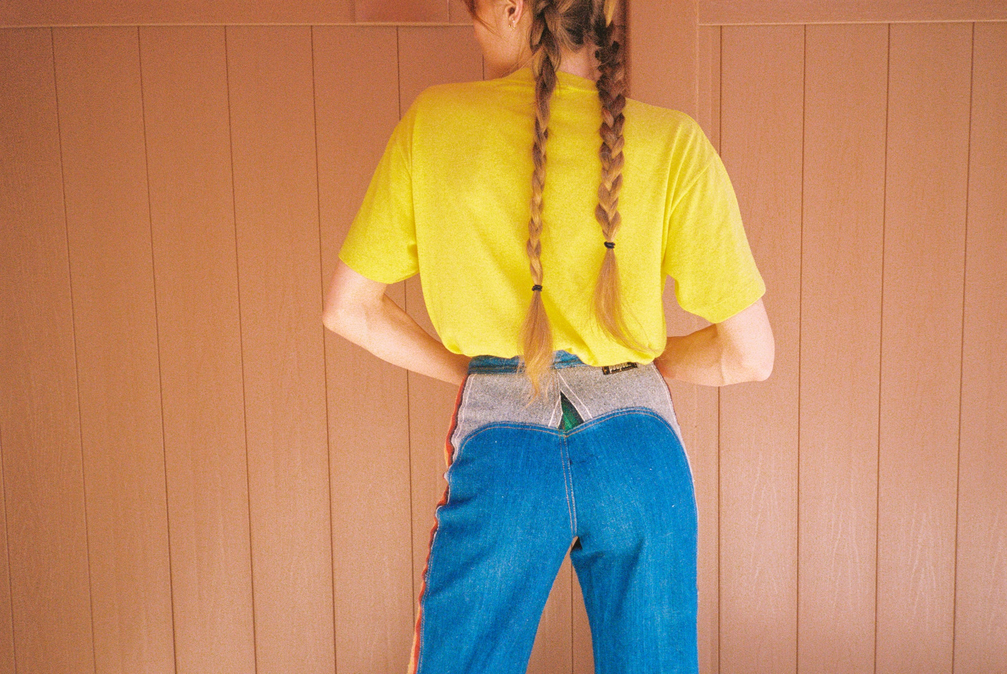 Vintage 60s woodstock high waist rainbow denim flare bellbottom pants