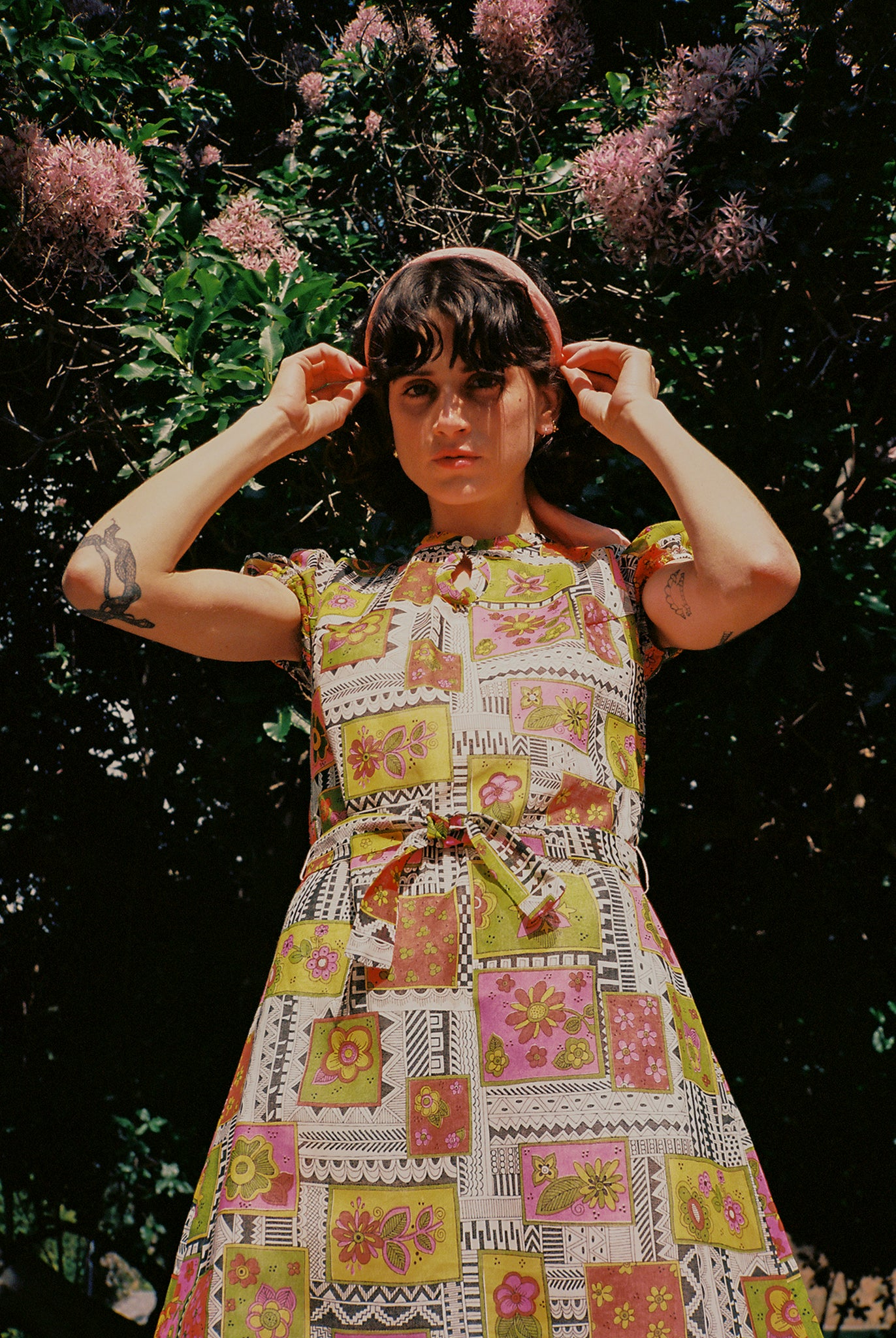 vintage 1960s 60s psychedelic floral micro mini dress
