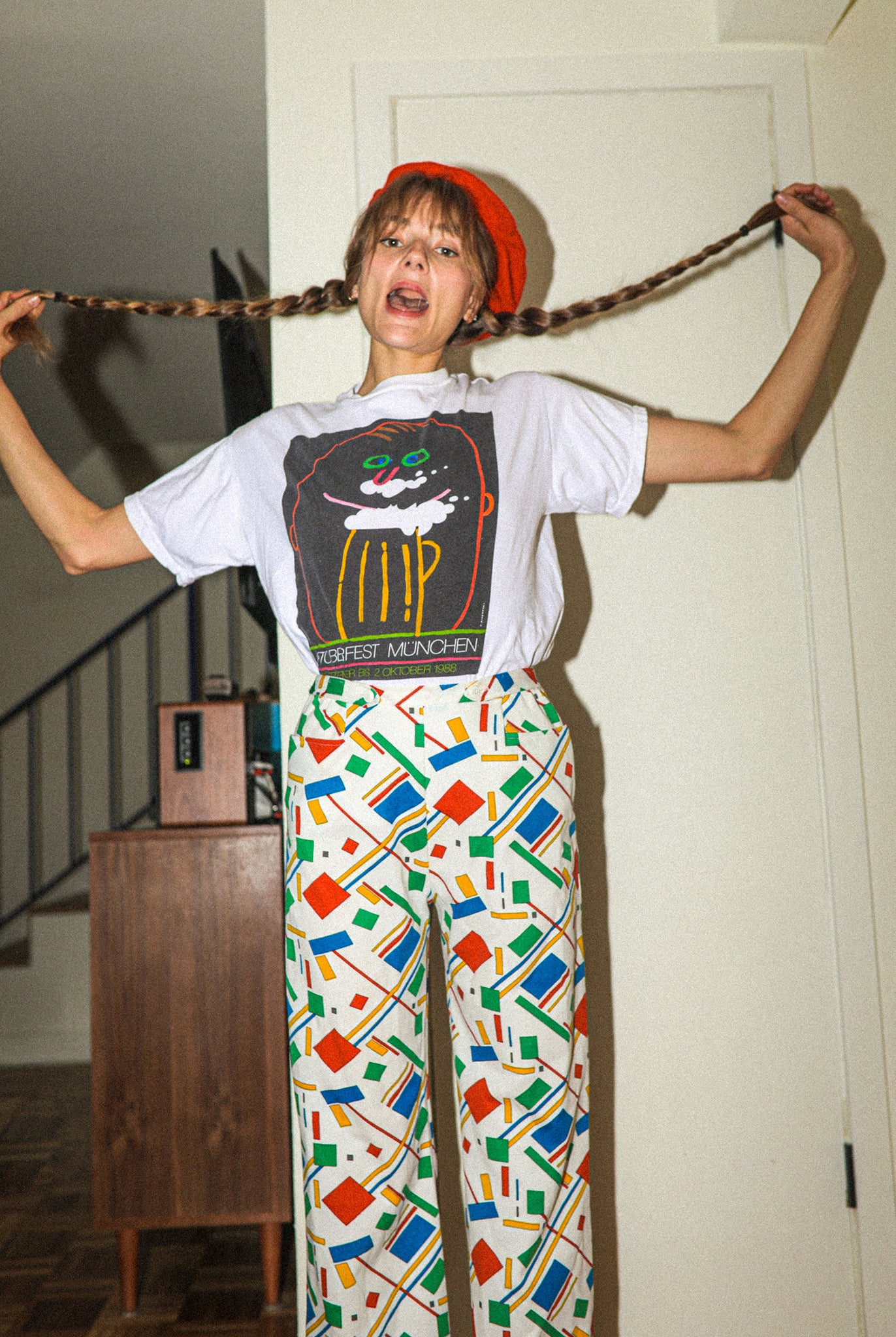 Vintage 80s memphis style high waist flare geometric abstract pants
