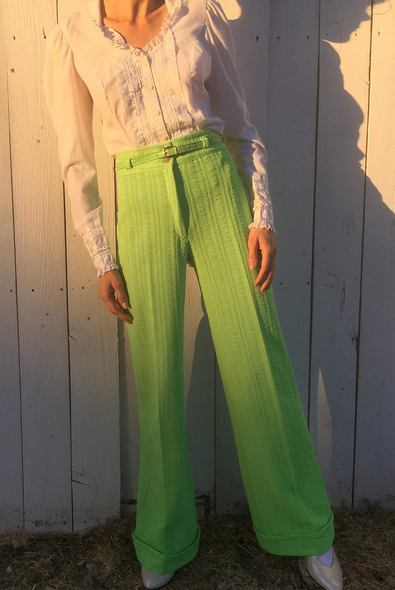 vintage 1970s 70s high waisted bright green neon wide leg flared pants trousers