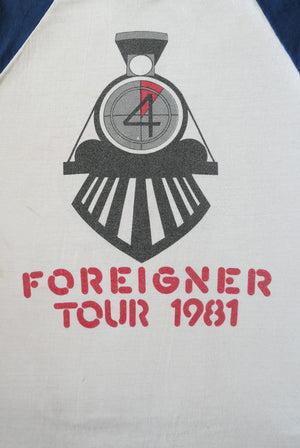 vintage 1980s 80s 1982 foreigner music band raglan t-shirt
