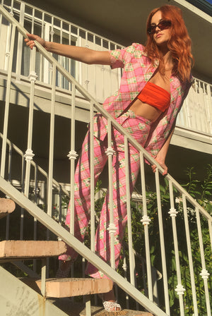 vintage 1970s 70s checkered pink two piece set