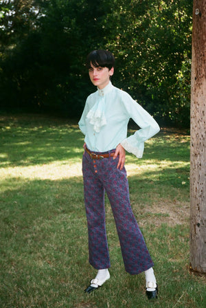 vintage 1960s 60s psychedelic floral high waisted kick flare pants trousers