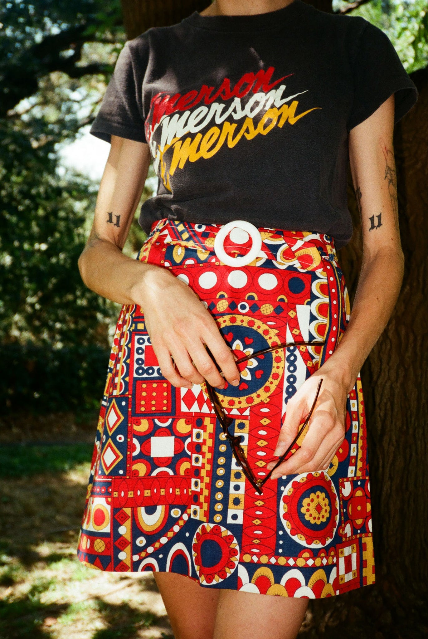 vintage 1970s 70s high waist skirt mini psychedelic