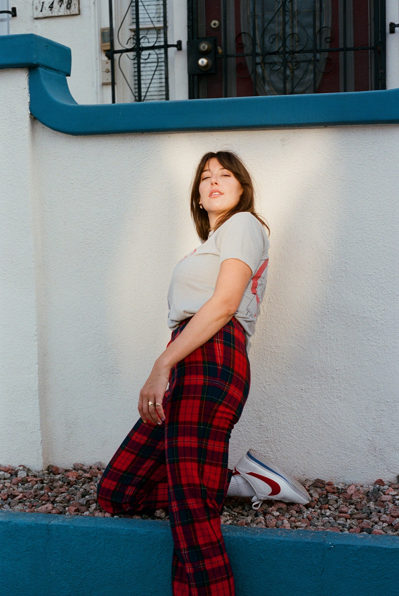 1970s 70s vintage red tartan plaid high waisted pants trousers