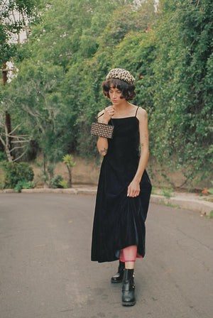 Vintage 80s gunne sax black velvet midi dress