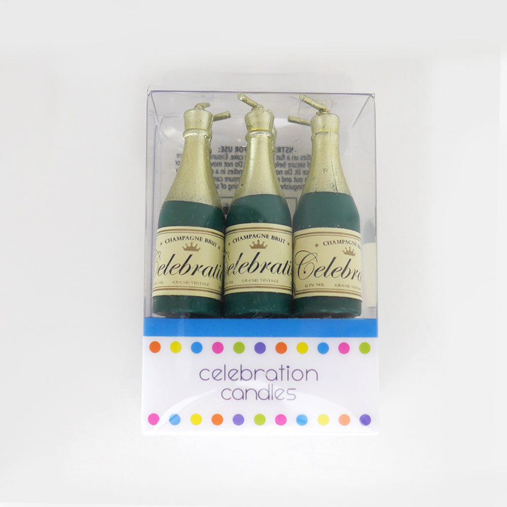 Champagne Bottle Celebration Candles Pack of 6