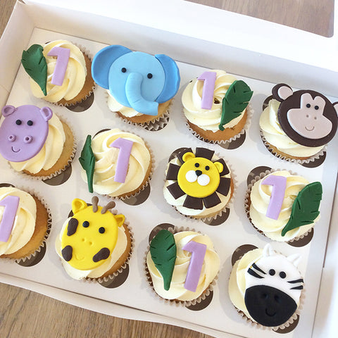 Jungle Animal Cupcakes Box of 12