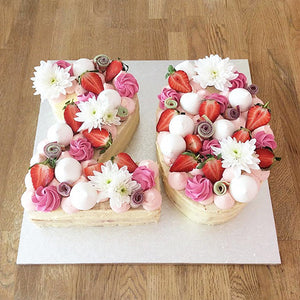 Number Cake with Fresh Fruit & Flowers