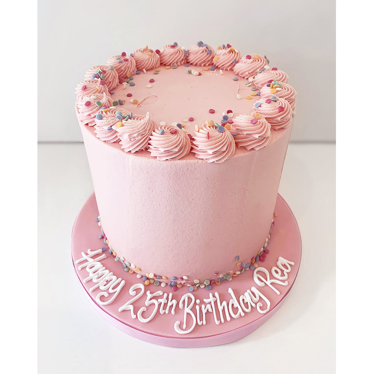 Pink Buttercream Celebration Cake