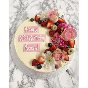 Celebration Cake with Fresh Flowers & Fruit
