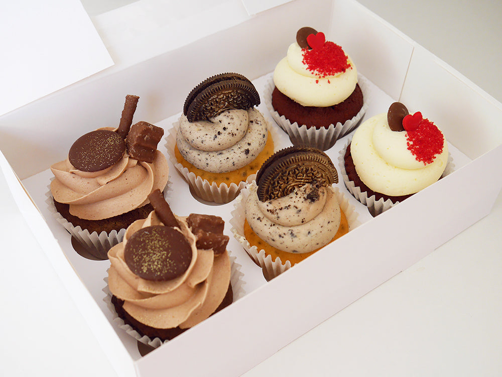 Chocolate Lover's Selection of 6 Eggless Cupcakes