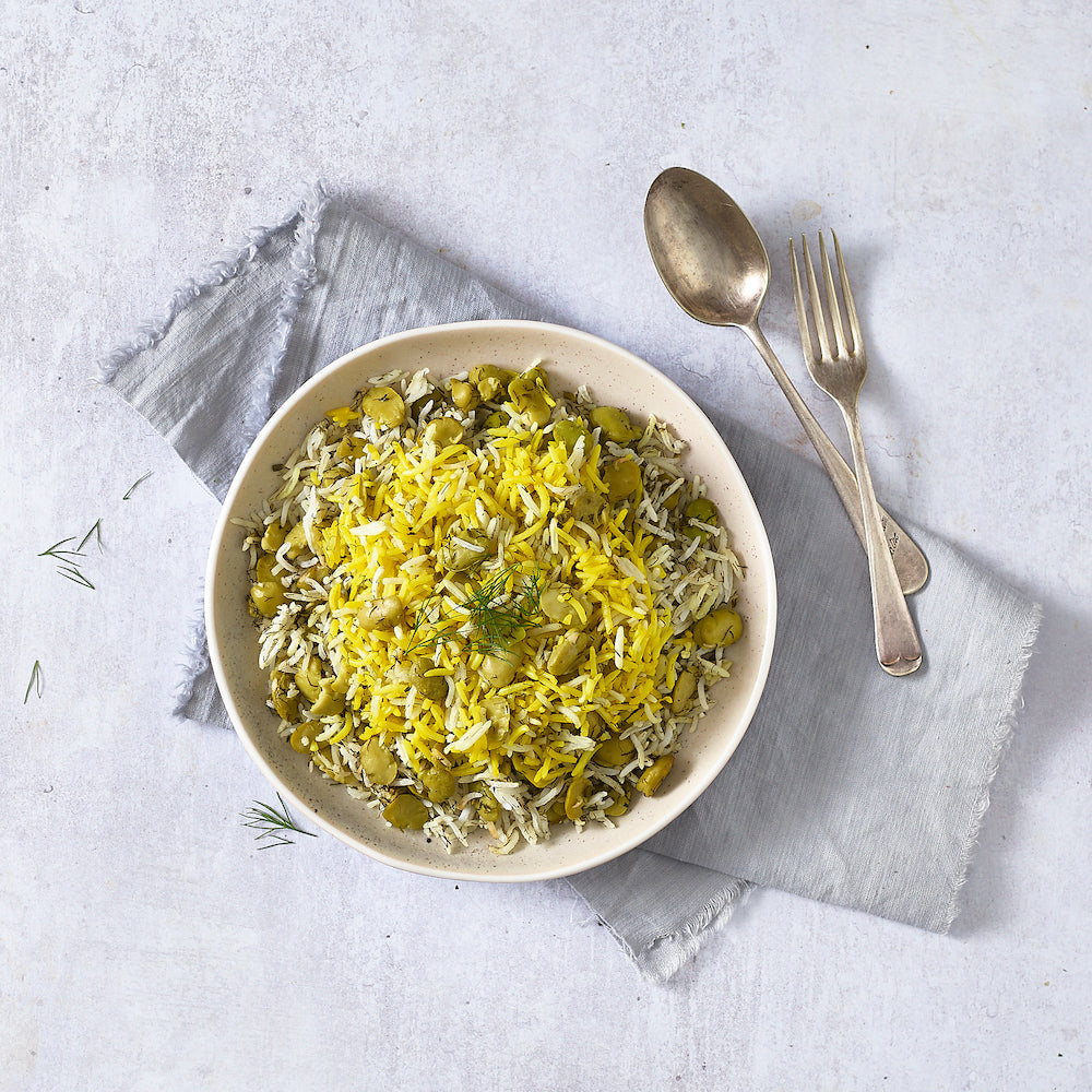 Saffron Rice with Dill & Broad Beans (Baghali Polo)