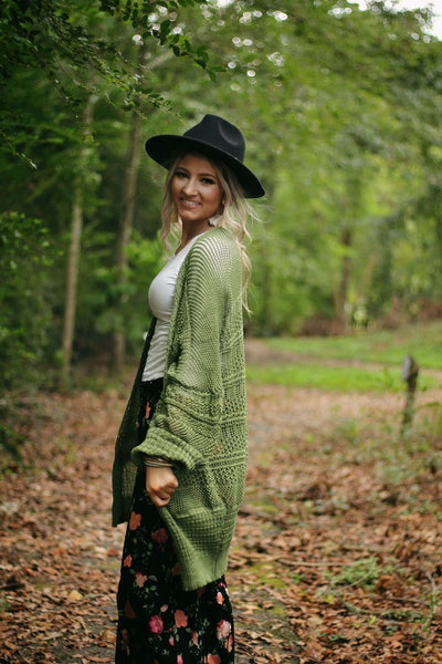 Heavenly knit cardigan in sage
