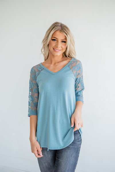 She's A Flirt Lace Sleeve Top