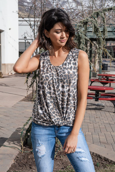 Chase Me Leopard Contrast Tank