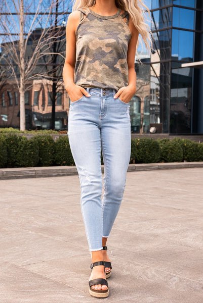 Girl Gang Double Button Skinny Jeans