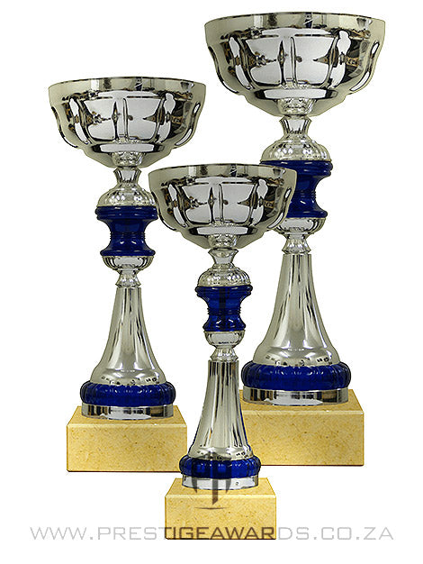 Silver and Blue Value trophy T0505 Range