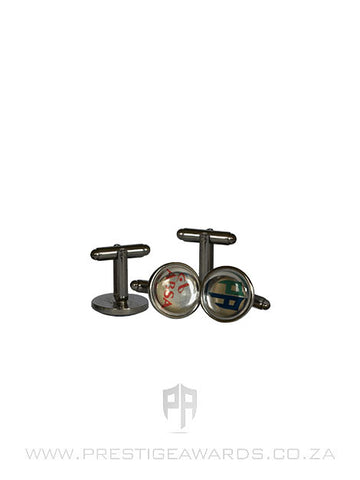 Round Chrome Cufflinks with Domed Decal