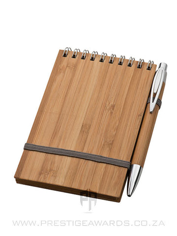 A5 Bamboo Notepad with Pen, Lasered