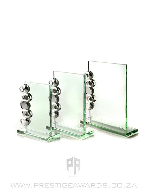 Jade Glass Plaque Trophy with Silver Trim