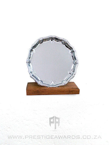 Silver metal tray with ornate edge 310mm