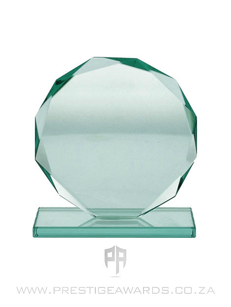 Jade Glass Circle Bevelled Trophy