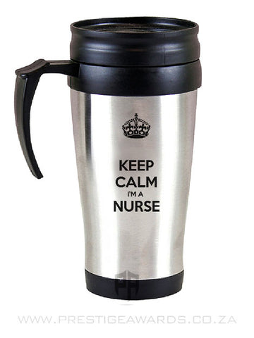 A Stainless Steel Travel Mug with message