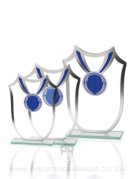 Glass Shield and Medal on Black Base Trophy T0583 Range
