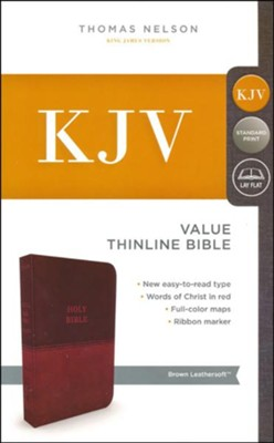 KJV, Value Thinline Bible, Standard Print, Imit. Leather, Brown, Red Letter Ed.