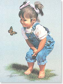 Friendship Little girl with butterfly