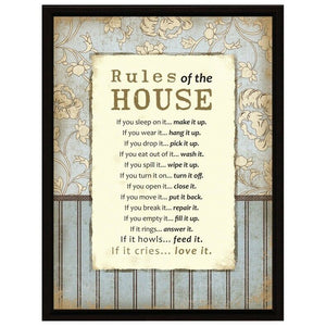 Plaque: Rules of the House