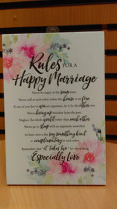 Plaque: Rules for a Happy Marriage