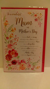 To a wonderful Mum on Mother's Day