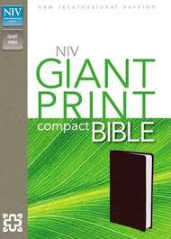 NIV, Giant Print Compact Bible, Leather-Look, Burgundy