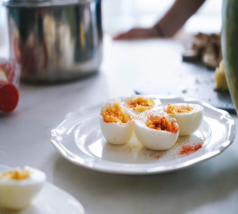 Jeweled stuffed eggs with ULIDEA olive dust