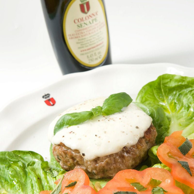 Hamburger with herbs and Colonna mustard oil