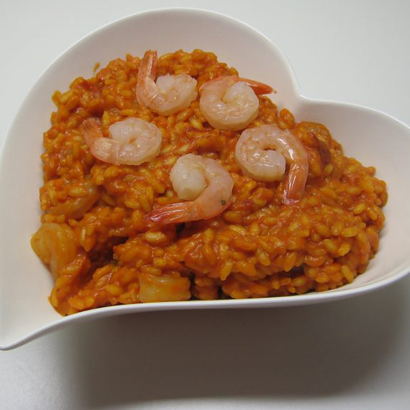 Pilaf rice with prawns and Colonna arancio oil