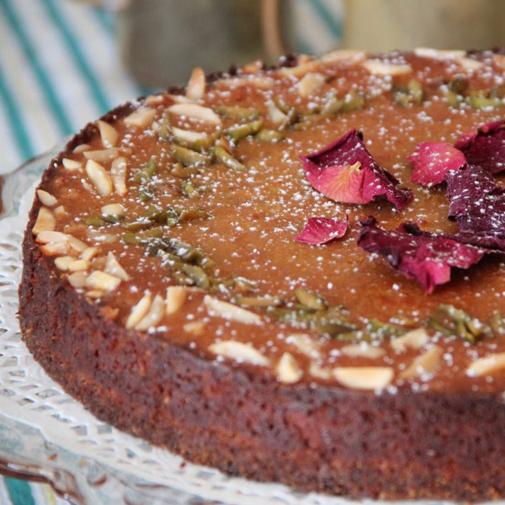 Image for Iranian almond cake with Colonna cardamom and rose oil