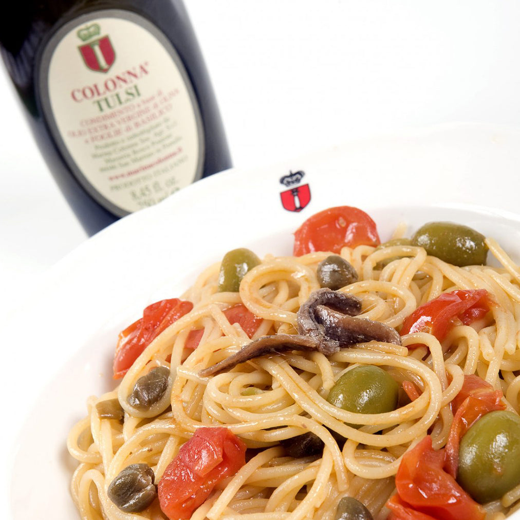 Image for Spaghetti puttanesca style with Colonna tulsi oil