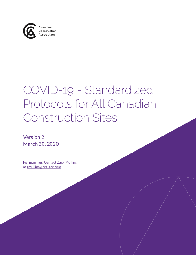 Report Cover for COVIC-19 standardized protocols for all Canadian construction sites