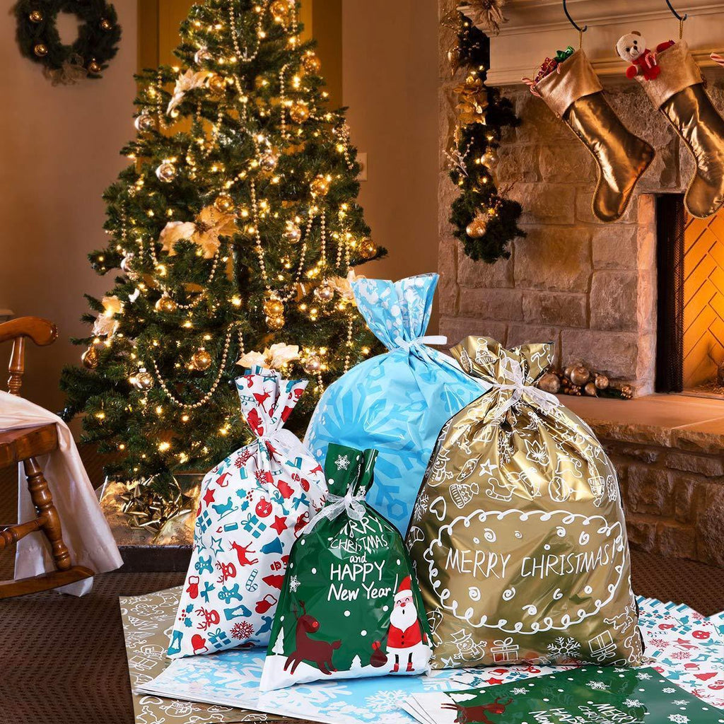 Biodegradable Drawstring Christmas Gift Bags