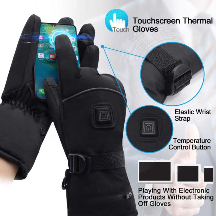 Professional Waterproof Self-Heating Gloves, 3 Levels Temerature Control