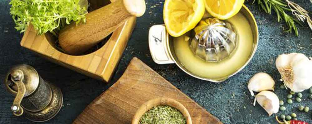 Spices, lemon and herbs