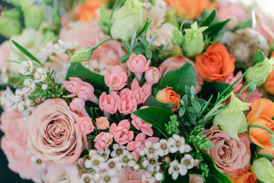 Pink and Orange Rose Bouquets