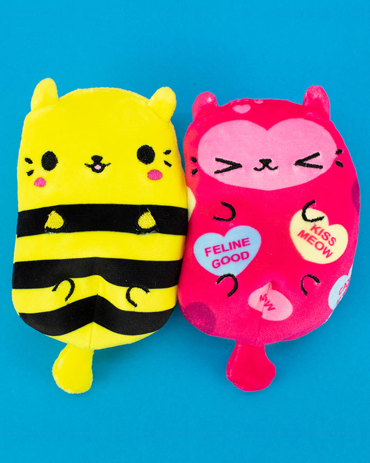 Miss Bumblekitty and Be Mine Kitty on blue