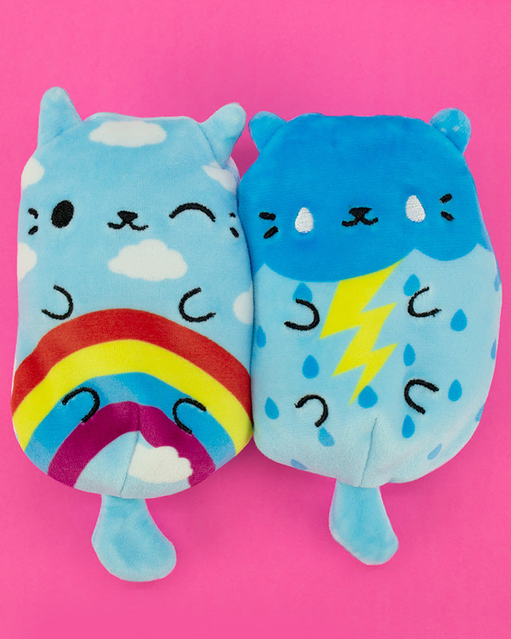 Rainbow Meow and Stormy Kitty on pink
