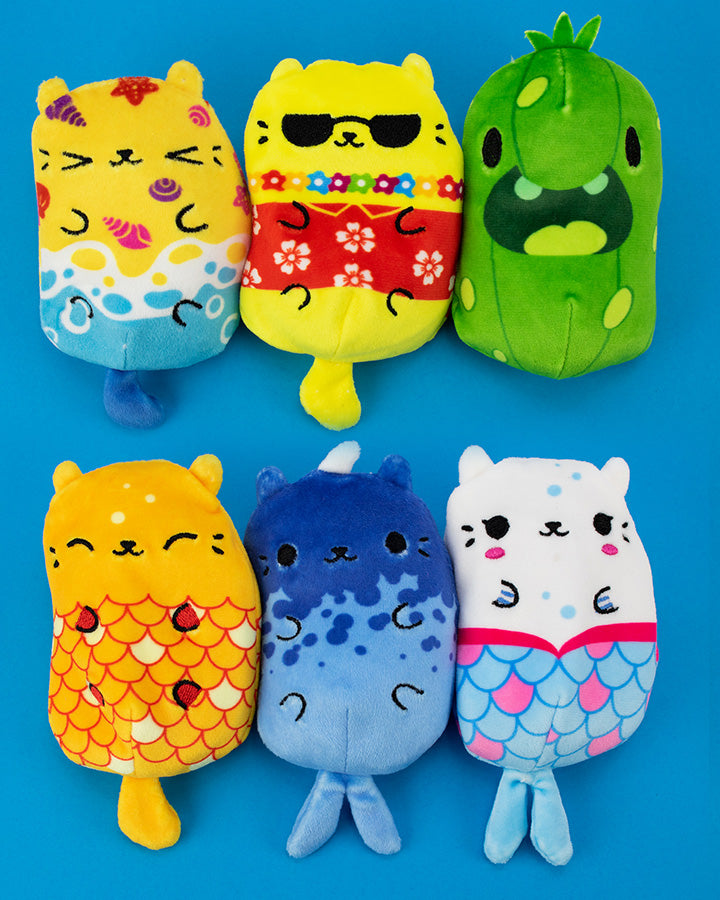 6 Cats and Pickles from series 1 on blue